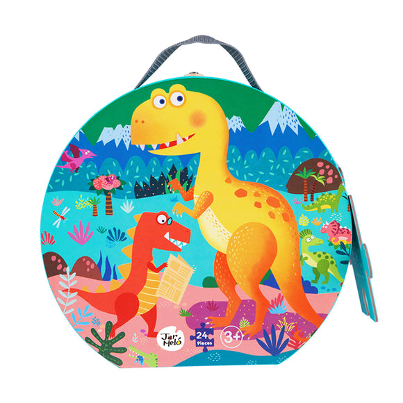 24pc Jigsaw Puzzle Jar Melo Floor Puzzle in Carry Case Dinosaur Playground