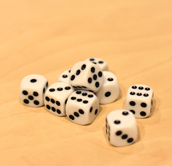 Dice Individual 6 Dot White 16mm
