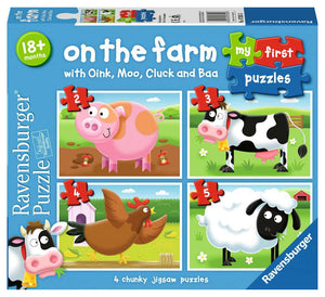 My First Puzzles Ravensburger On The Farm with Oink, Moo, Cluck & Baa Set Of 4