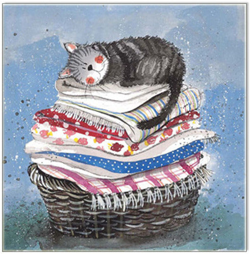 Greeting Card Cat Laundry Basket Alex Clark