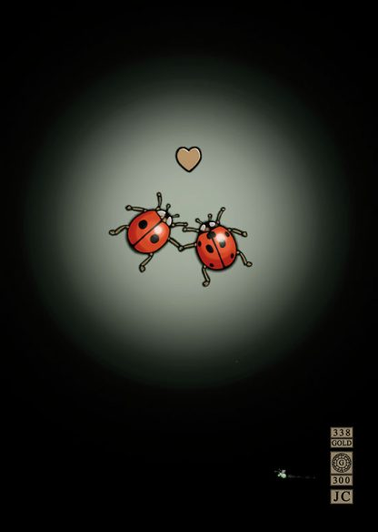 Greeting Card Bug Art Black Background Embossed Ladybirds In Love