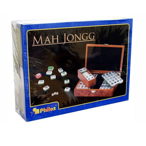 Mah Jong Wooden Case Small Tabletop Tile Game