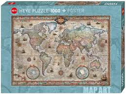 1000pc Jigsaw Puzzle Heye Retro Art Map of The World