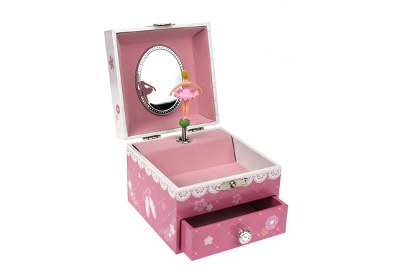 Musical Jewellery Box Pink Ballerina Square