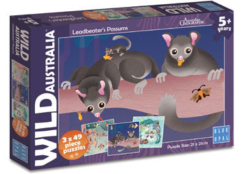 3x49pc Jigsaw Puzzle Blue Opal Wild Australia Leadbeater's Possums