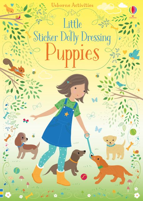 Little Sticker Dolly Dressing Puppies by Fiona Watt Illustrated Activity Book Usborne Softcover Book