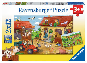 2x12pc Jigsaw Puzzle Ravensburger Working On The Farm