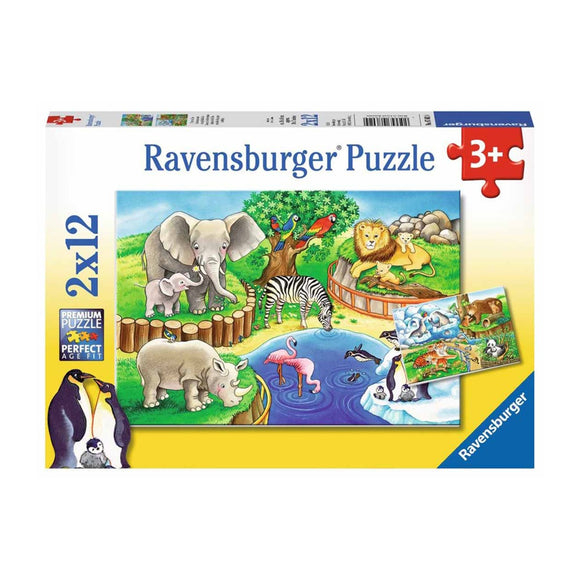 2x12pc Jigsaw Puzzle Ravensburger Animals In The Zoo