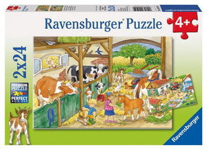 2x24pc Jigsaw Puzzle Ravensburger A Day At The Country Farm