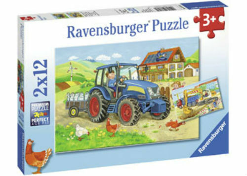 2x12pc Jigsaw Puzzle Ravensburger Hard At Work Tractor
