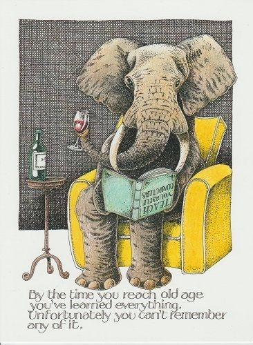 Greeting Card Simon Drew Old Elephant