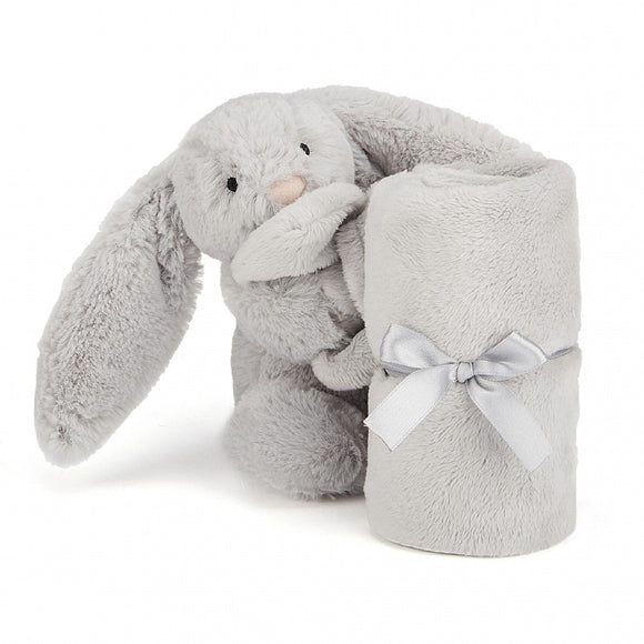 Plush Jellycat Bunny Bashful Soother Blanket Silver