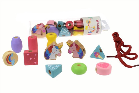 Lacing Beads Unicorn or Dinosaur Wooden Shapes Set in Tube