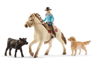 Western Riding Playset Horse Cow Dog Schleich Figurine Set
