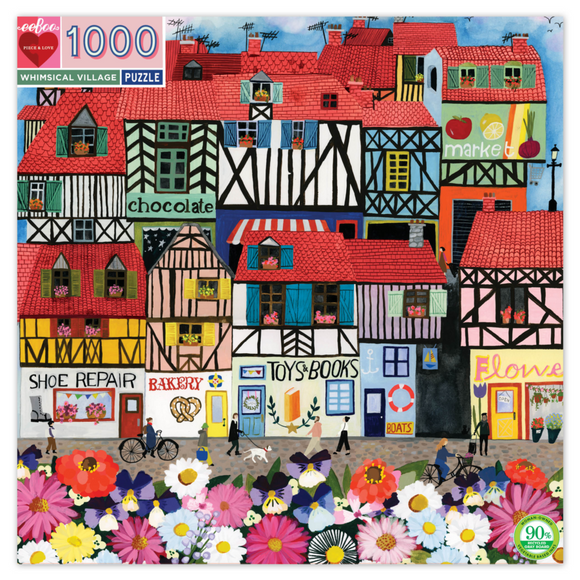 1000pc Jigsaw Puzzle Eeboo Square Whimsical Village