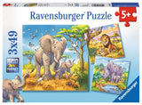 3x49pc Jigsaw Puzzle Ravensburger Wild Animals