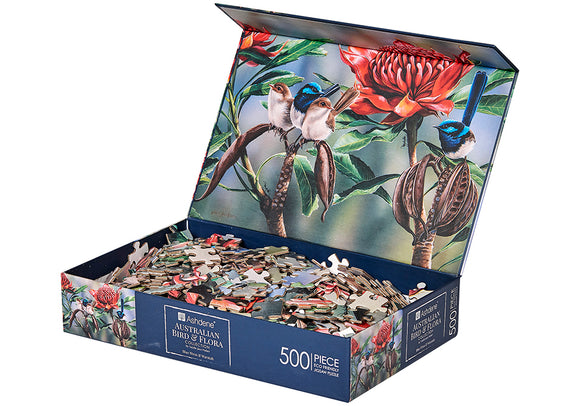 500pc Jigsaw Puzzle Australian Birds and Flora Blue Wren Waratah