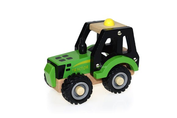 Wooden Green Tractor With Rubber Wheels