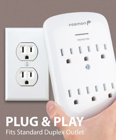 Surge Protector Wall Adapter Plug 6 Outlet
