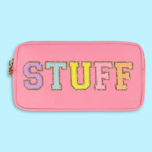 "Small Pink ""STUFF"" Pouch by Stoney Clover."