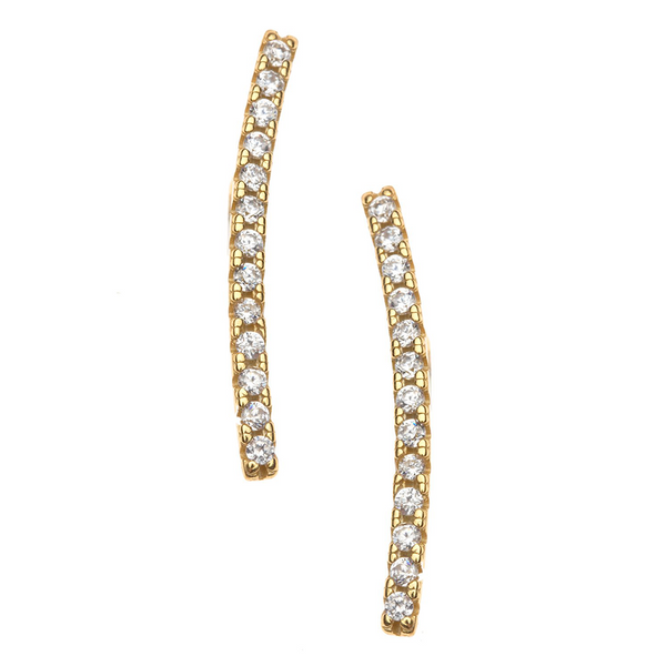 Elephant Tusk Shaped Post Earring with CZ stone detail