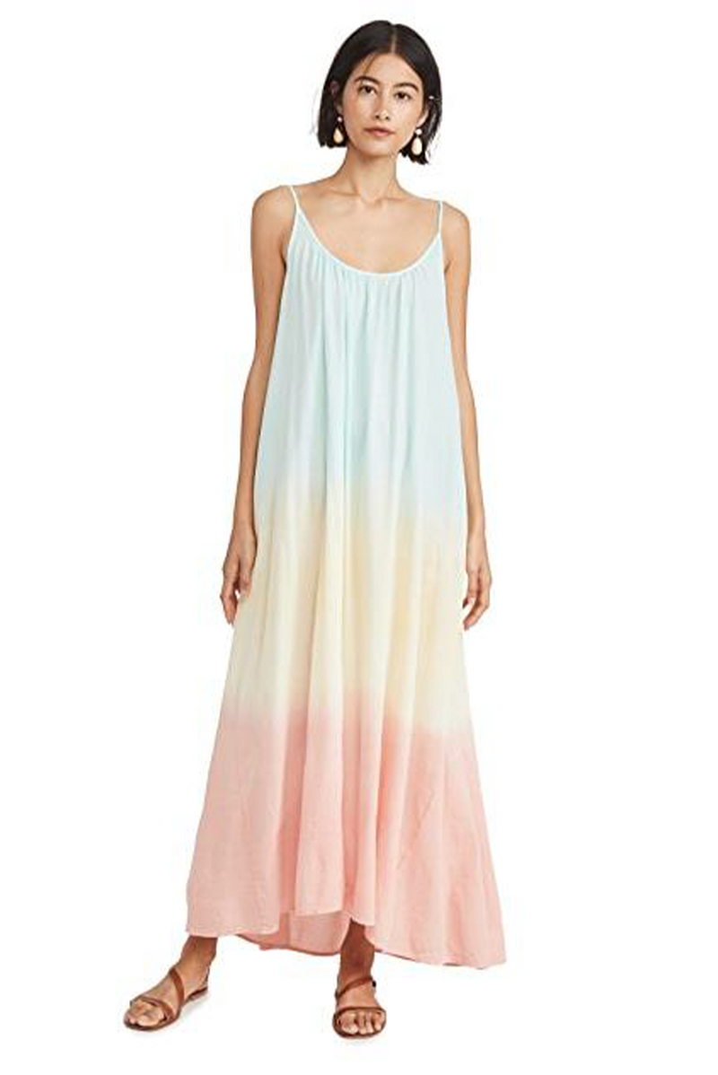 Tulum Ombre Aquarius Tie-Dye Low Back Gauze Maxi Dress by 9Seed