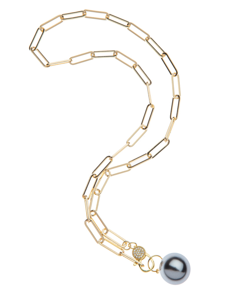 Fresh Water Pearl On Paper Clip Chain with Cz Clasp Necklace