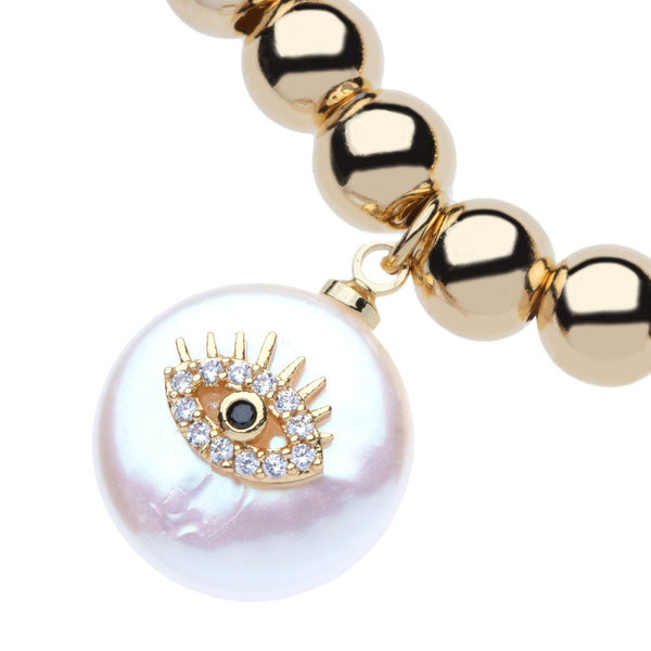 6mm 14k Gold Filled Bead Ball Stretch Bracelet  with Cz Evil Eye On a Coin Pearl