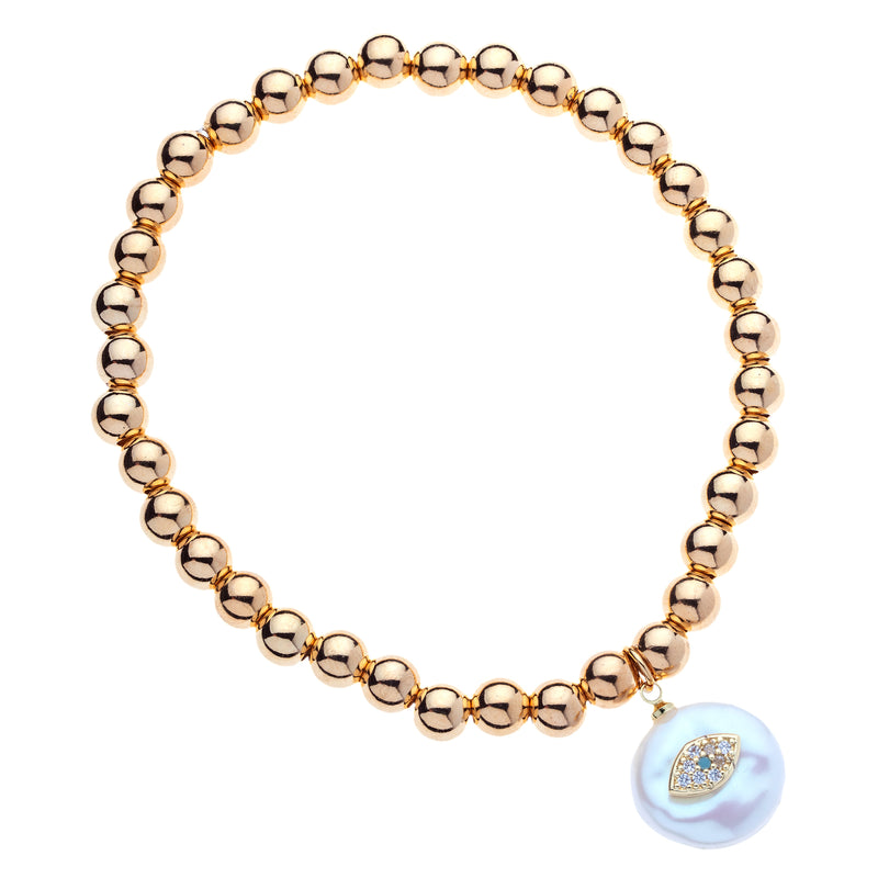 6mm 14k Gold Filled Bead Ball Stretch Bracelet with Diamond Shaped Evil Eye on a Coin Pearl