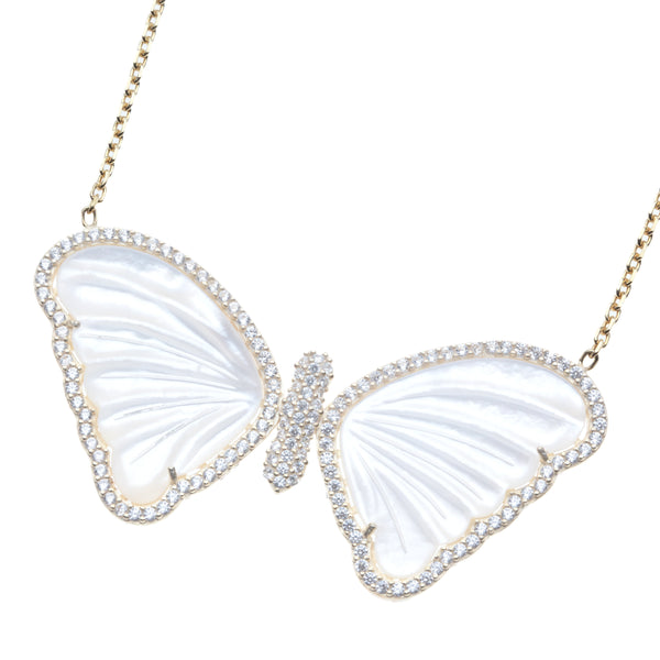 White Sapphire and Mother of Pearl Butterfly Necklace