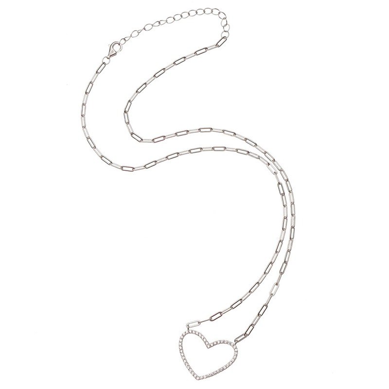Baguette Shaped Cz lined Floating Heart Necklace