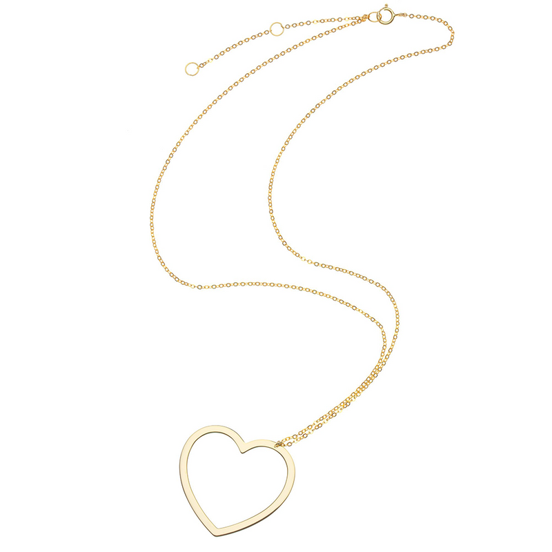 Open Heart Shaped Floating Necklace
