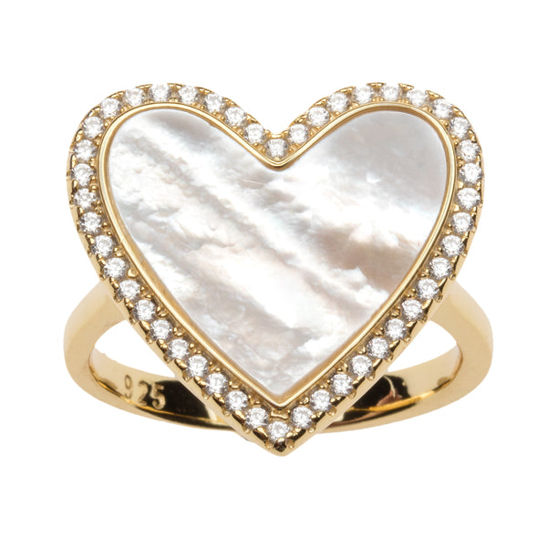Mother of Pearl Heart Ring with Cz Border