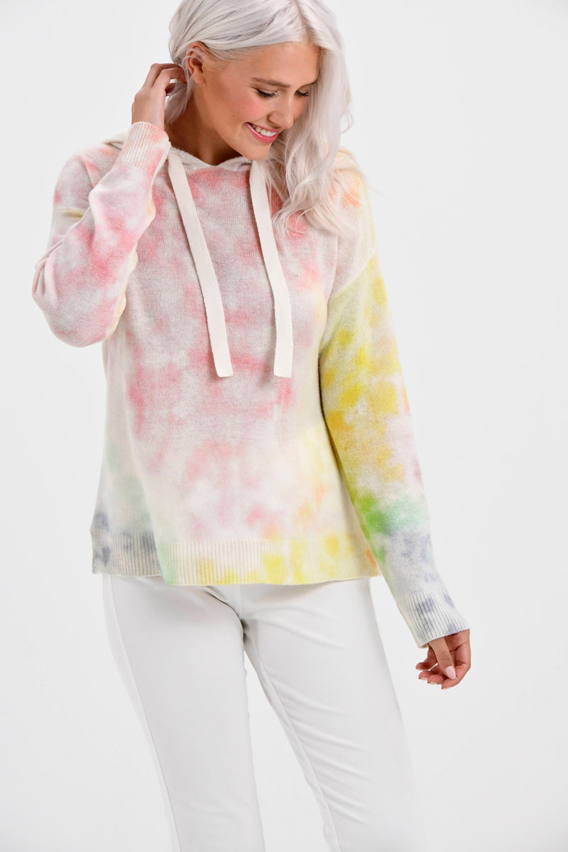 California Cashmere Tie-Dye Hoodie Sweater by Brodie Cashmere