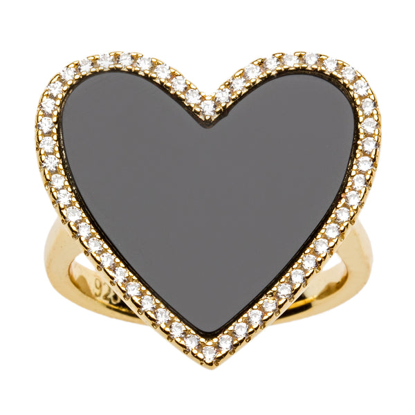 Black Enamel Heart Shaped Ring with Cz Border