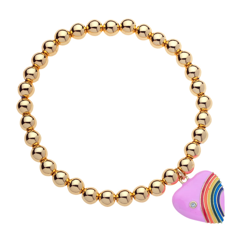 6mm 14K Gold Filled Bead Ball Stretch Bracelet with Rainbow Heart by Menagerie
