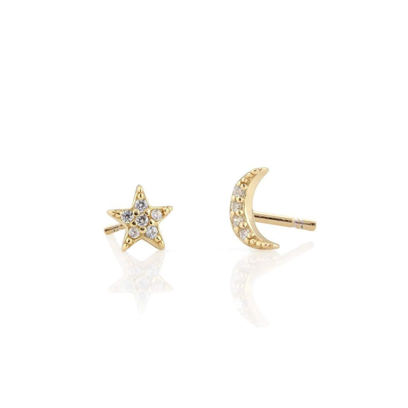 Pave Cz Star and Moon Vermeil Stud Earrings