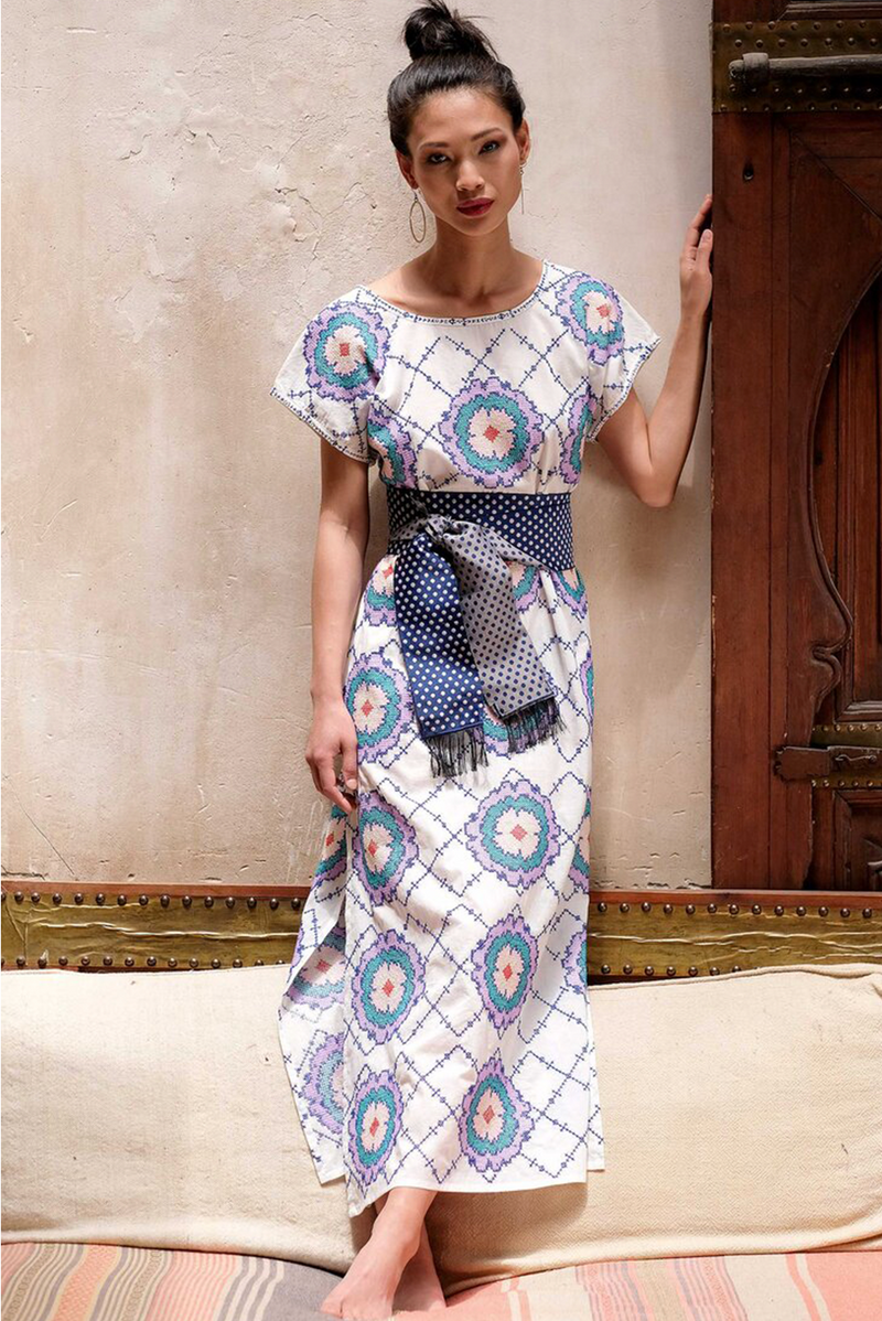 Mexican Flower Hand Embroidered Short Sleeve Kaftan Dress