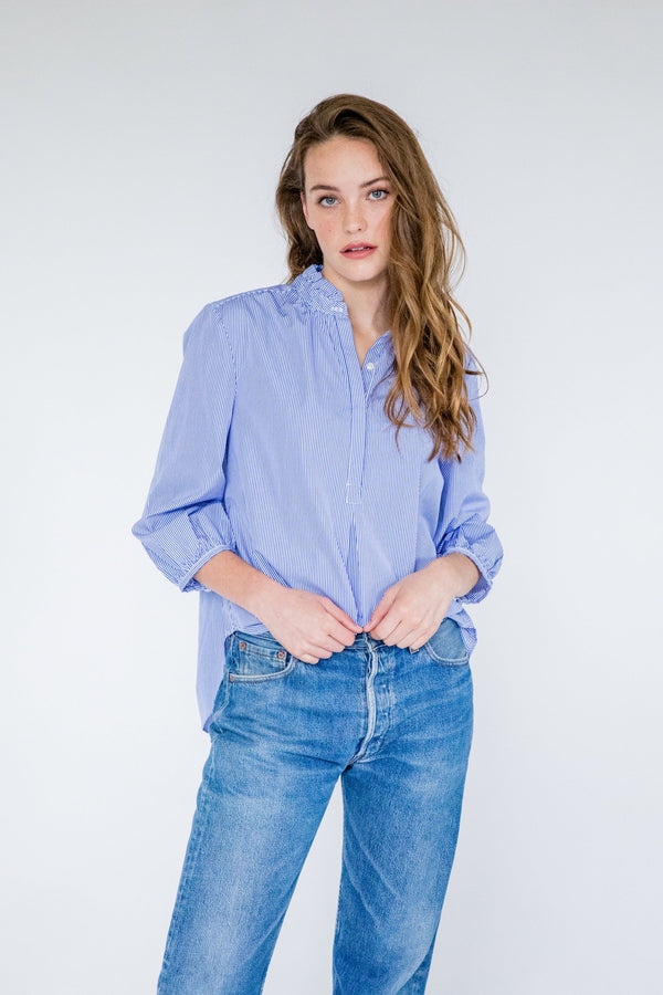 Classic Fit Sara Henley Cotton Shirt by Birds Of Paradise by Juliet Dunn