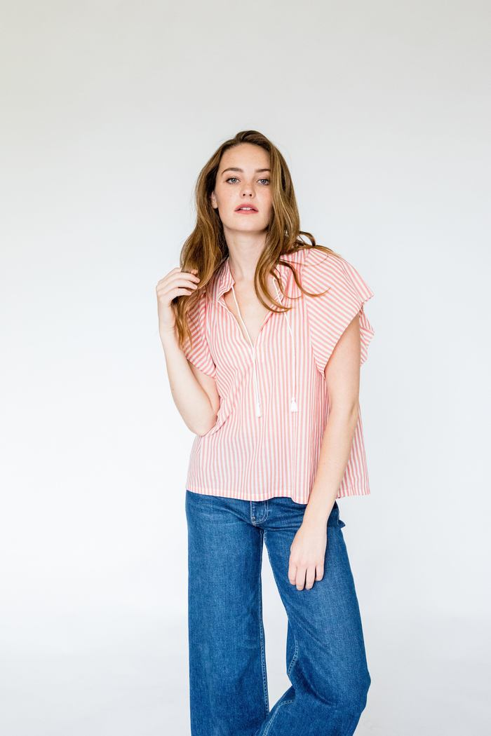 Brett Gathered Striped Short Sleeve Blouse with Ruffle Stand Up Collar SALE