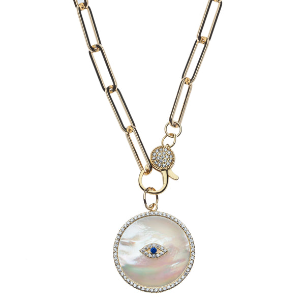 Evil Eye Pearl Disk Charm Necklace on Paperclip chain with Cz Hinge Clasp