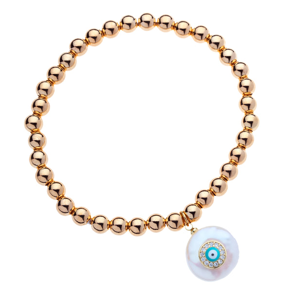 6mm 14k Gold Filled Bead Ball Stretch Bracelet  with Turquoise Evil Eye On a Coin Pearl