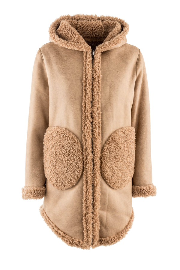 Super Soft Reversible Teddy Bear Poncho Coat with Hood