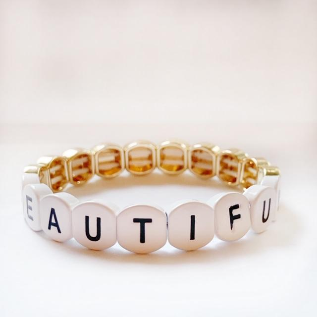 Word Tile Bead Stretch Bracelet by Caryn Lawn