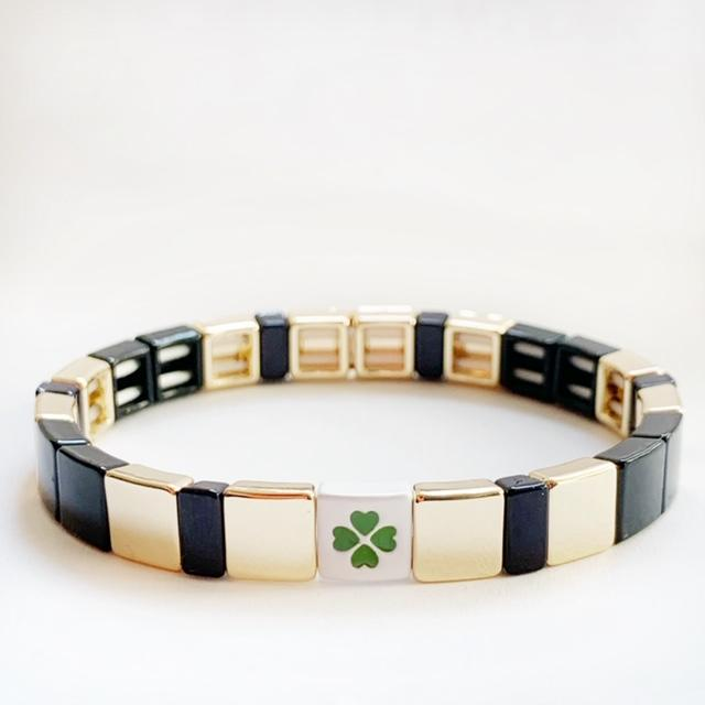 Tile Bead Stretch Bracelet by Caryn Lawn