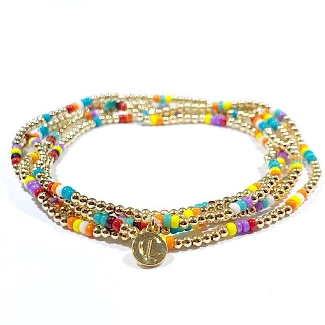 Gold Ball Multi Color Bead Stretch Bracelet
