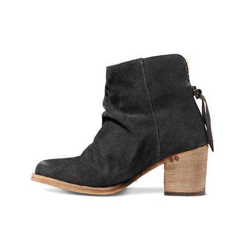 Jinks Suede Back Sip Closure Ankle Bootie with Wood Heal by Beek