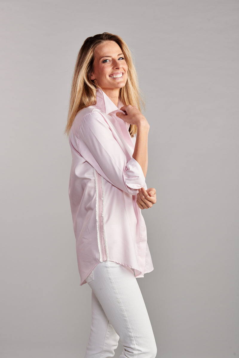 Boyfriend Shirt With Ribbon Side Striped Seams