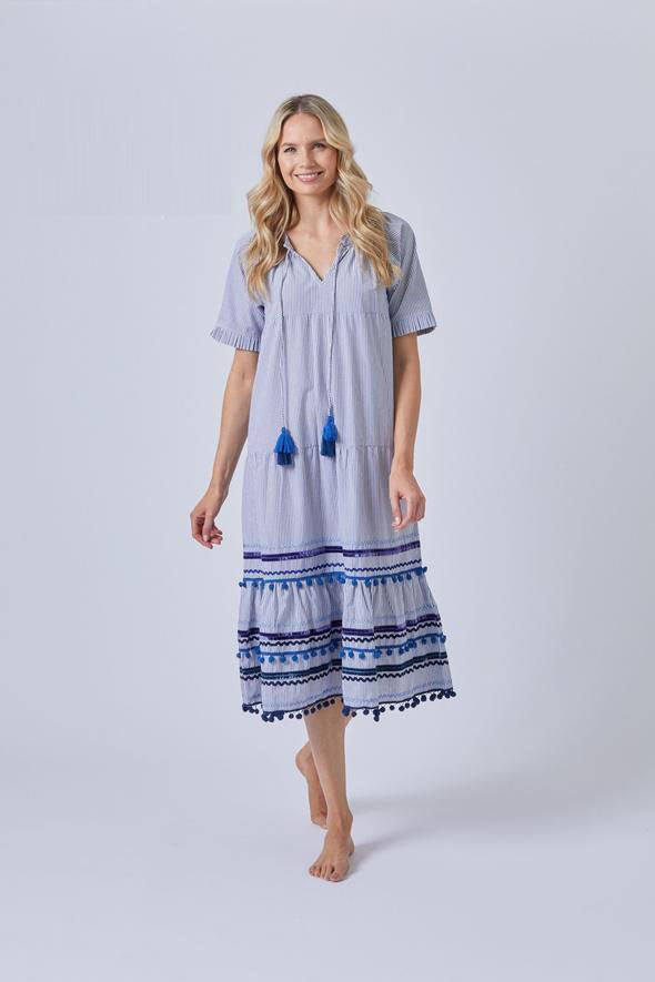 Luxurious Fine Cotton Shirting Ruffel Tiered Midi Dress Trimmed with Ric Rac and pom poms SALE