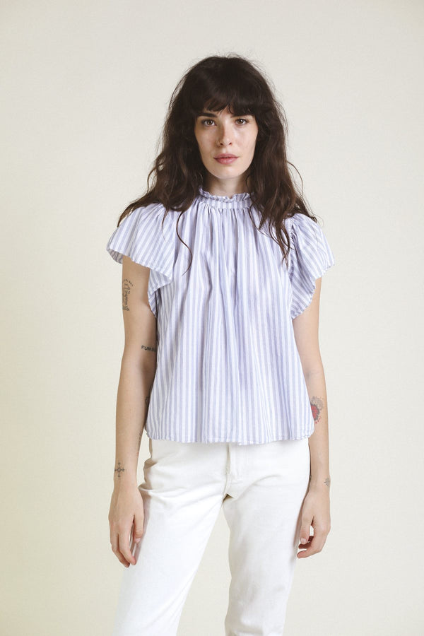 Carla High Neck Striped Blouse